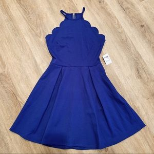 Blue Scalloped Skater Dress